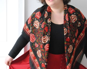 Vintage black and pink color red and pink shawl.