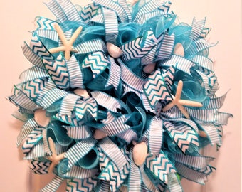 Beach Wreath, Beach Starfish Wreath, Beach Wreath, Blue Summer Wreath, Blue Beach Wreath, Coastal Wreath, Cottage Wreath, Ocean Wreath