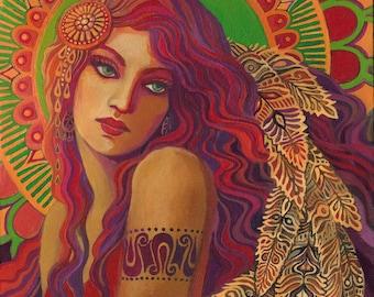 Bohemian Belle Psychedelic Gypsy Goddess Art 11x14 Print