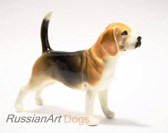 Beagle hound dog porcelain figurine handmade statuette
