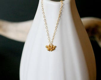"tiny gold necklace, gold filled necklace, tiny charm necklace, dainty layering necklace for her, teeny tiny gold necklace, ""pelota"" necklace"