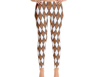 Brown and White Harlequin Diamond Geometric Leggings by Dixie Cloth