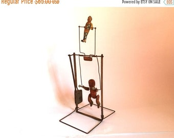 Sale - Antique 1930's Weathered Metal TIK-TAK Wind Up Tumbling Acrobat Toy - Doesn't Work - Vintage Steampunk Decor