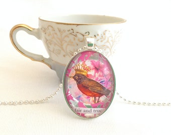 crowned bird pendant, fair and true, altered art bird necklace, hot pink & silver colours