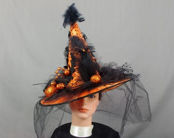 Halloween Witch Hat, Black and Orange Witch Hat, Witch Costume, Pagan Hat, Wicca Hat, Halloween Costume, Halloween Decor, Orange Witch Hat