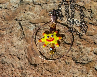 Handmade Glass Lampwork Sun Catcher with Copper Ring and Chain