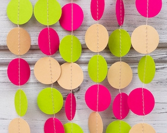 Pink and Green paper garland, Lime wedding, Cream wedding, Hot pink baby shower, Green baby shower, Pink decorations, Guirlande