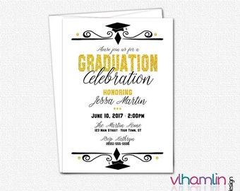 Graduation Cap Invitation - High School or College Graduation Invitations - Gold Graduation Invites - Printed or Printable | black white