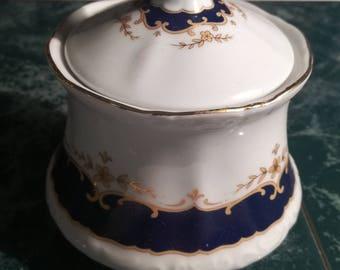 Vintage, antique, china, porcelain, sugar pot, King Ludwig, Bavaria, Mitterteich, cobalt Gold, Form 2000,