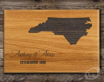 Personalized Cutting Board State Love Wedding Gift cutting board North Carolina Anniversary Gift for Couple Housewarming gift ALL STATES