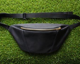Black waterproof bumbag/ Fanny pack/ Festival bag