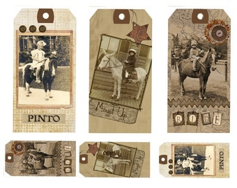 Vintage Pony Ride Photo Tags Printable Digital Download