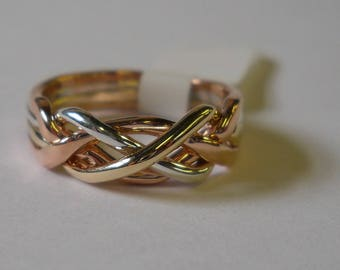 10K Gold/Sterling 4 Band Puzzle Ring with 2 Gold Bands and 2 Sterling Bands 4T