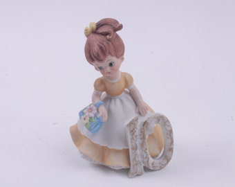 Vintage Adorable Birthday Girl Porcelain Kelvin Age 10 Girl ~ The Pink Room ~ 170112
