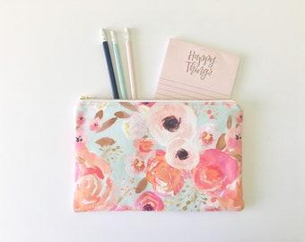 Spring Time Zipper Pouch, Watercolor Floral Zipper Pouch, Pencil Case, Purse Organizer, Cosmetic Bag, Travel Purse, Party Favors, Bridesmaid