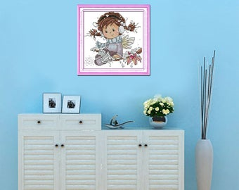 Free shipping Little angel of winter Counted 11CT Printed 14CT Cross Stitch Set DIY Cotton Cross-stitch Kit Embroidery Needlework K557