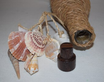 "Message Bottle 14"" Sea Shell Raffis Twine Wrapped with Wood Cork  Ocean Beach Nautical Décor"