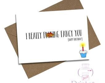 Fancy birthday card etsy boyfriend birthday card girlfriend card i really fcking fancy you mature bookmarktalkfo Gallery