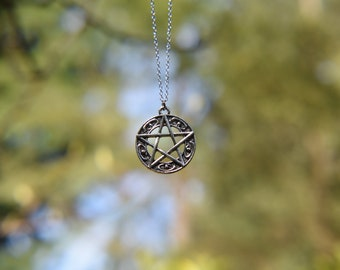 Celtic Pentacle Pendant Necklace - Silver, Chain necklace, Pagan, Wicca, Witch