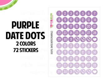 Purple Date Dot Stickers | 2 Colors | 72 Kiss Cut Stickers | .35 inch | Small Planners, Inserts | IC075