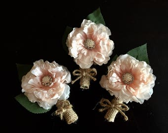 Rustic Blush Boutonnieres