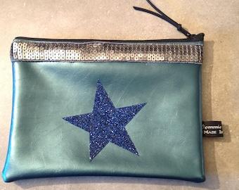 Clutch in faux leather teal blue, star glitter blue