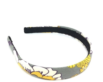 Floral Headband for Autumn and Fall - Charcoal Gray, White, Mustard, Purple - Preppy Fall Headband for girls and adults