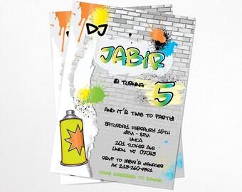 Graffiti, HipHop Birthday Invitation - Printable