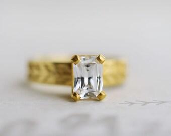 Emerald Cut Moissanite Engagement Ring   Sustainable Solitaire   7x5mm Forever Brilliant Moissanite 14k, 18k, Rose, Yellow, White Gold Ring
