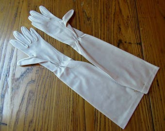 "Vintage Champagne Dress Gloves, 18"" Long, Original Tag/Unused, Fownes, Opera Gloves, Cream Gloves, Dress Gloves, Long Gloves, Wedding Gloves"