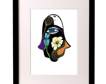 Floral Design,Flowers Art,Wall Art,Wall Decor,Hamsa Hand Art,Illustration Print,Hamsa Poster,Hamsa Design,Healing Hand,Mothers Day Gift