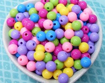 75x 8mm Resin Multi color Globe beads .. Mini Bubblegum Fun