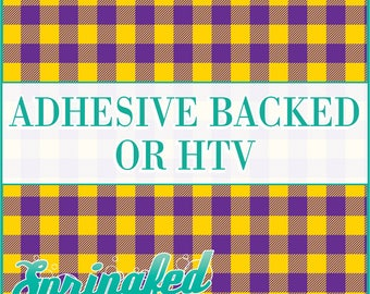 Buffalo Plaid Pattern in Purple & Athletic Gold Adhesive Vinyl or HTV Heat Transfer Vinyl for Shirts Crafts and More!