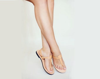 Women Sandals, Thong Leather Sandals, T Strap Greek Handmade Leather Sandals, Leather Summer Flats