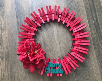 Red Poinsettia Clothespin Wreath
