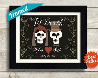Til Death Do Us Part, Mr and Mrs Personalized Wedding Gift Skeleton Anniversary Gift Goth Art Day of the Dead for Couples Dia de los Muertos