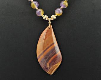 Wonderstone  Purple Yellow Natural Chalcedony 14K GF Necklace