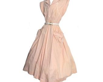 Vintage 50s Dress Fit and Flare Full Skirt Blush Pink Cotton Summer Dress Big Pockets Arrow Details