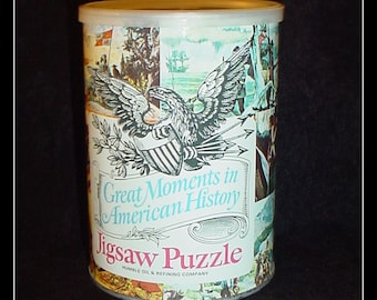 Humble Oil Jigsaw Puzzle in Sealed Tin 1969 Great Moments in American History Gold Seekers Rush