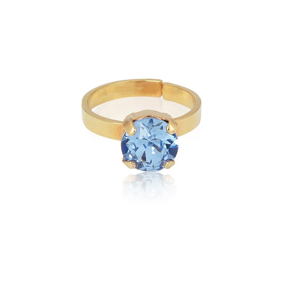 Crystal Stud Ring in Light Sapphire Blue