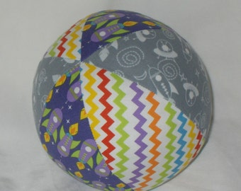 Gray Outer Space Rockets Fabric Ball Rattle - SALE