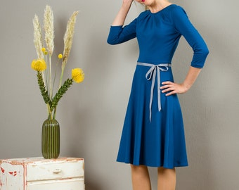 """Dress """"Elisa"""", with a round skirt and little falts in jeans blue"""