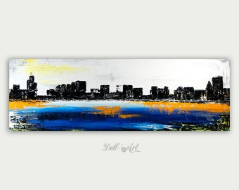 Abstract Colorful Chicago, Modern Painting, Textured Acrylic Art On Canvas, Home decor, City Art, Chicago Painting