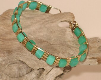 Gold & Chrysophase Wire-Wrapped Cuff Bracelet