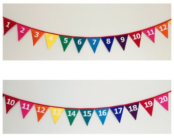 Rainbow Bunting Banner Flags With Numbers 1-20
