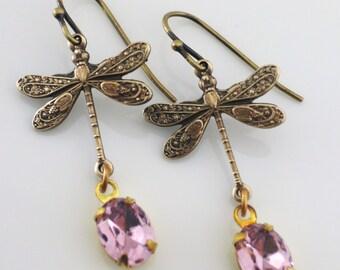 Vintage Earrings - Art Deco Earrings - Dragonfly Earrings  - Pink Earrings -  Rhinestone Earrings - Brass Earrings - Handmade Jewelry