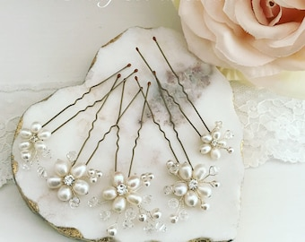 Bridal freshwater pearl daisy vine hairpins set of 5