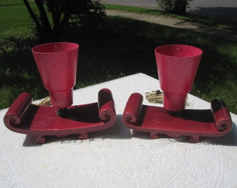 Pair of Red Asian Style TV / Table  Lamps