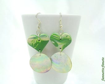 """Earrings polymer clay """"Heart + mother of Pearl"""" khaki and beige - handmade"""