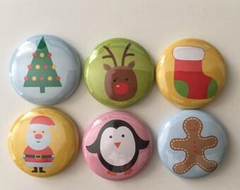 Holiday Friends Christmas scrapbook flair buttons
